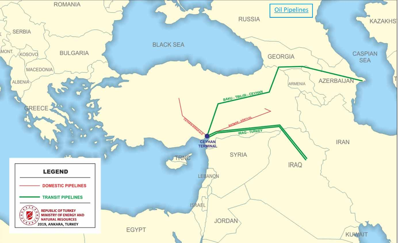The current status of domestic and import oil pipelines in Turkey can be seen in the map